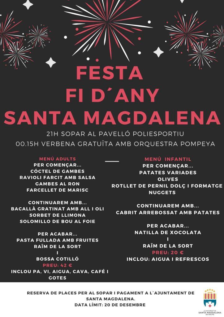 Abierto el plazo para la inscripción en la Cena de Fin de Año de Santa Magdalena