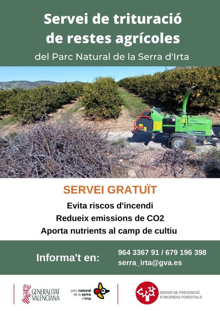 El Parque Natural de la Sierra de Irta pone en marcha el servicio de trituración de restos agrícolas